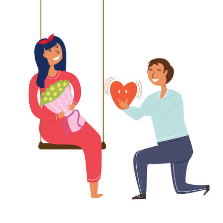Guy makes an offer to the girl's hands and hearts. Recognition of the hand. Please get married. Editable illustration
