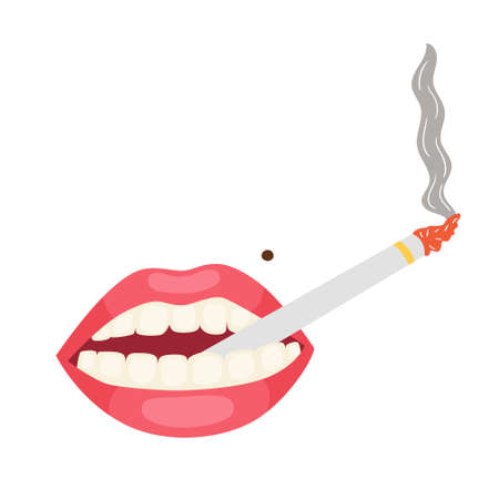 Pink lips with a cigarette in his mouth. Cigarette smoke from a thin cigarette. Lady's cigars. Vector editable illustration Vettoriali