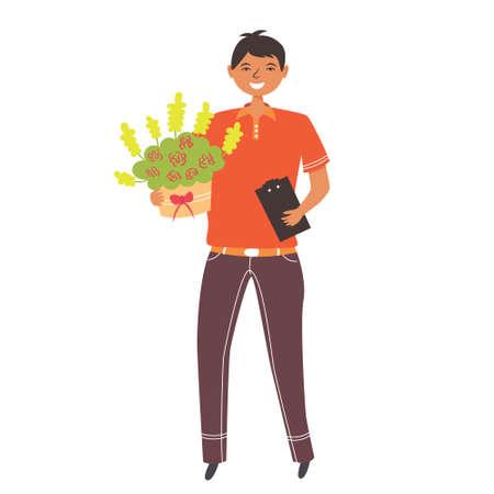Flower delivery with bouquet. Character Flat Design.  illustration Ilustração