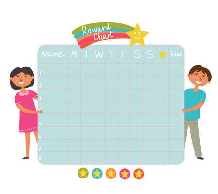 Daily Evening routine. Sticker rewards chart. School board for children with asterisks. Vector Ilustração