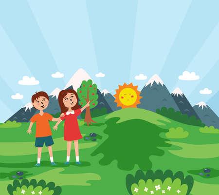 Children meet sunrise in nature. Summer children landscape. illustration Ilustração