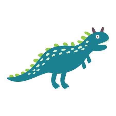 Cute dinosaur carnotaurus. Dinosaur vector character