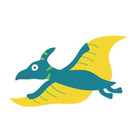 Cute dinosaur pteranodon. Dinosaur character Ilustração