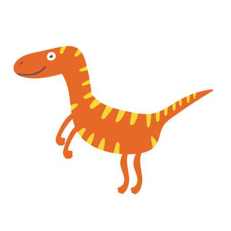 Cute dinosaur velociraptor. Dinosaur vector character Ilustração