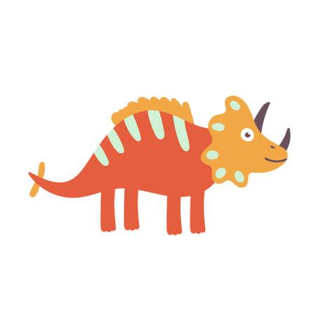 Cute Triceratops Dinosaur. Dinosaur vector character