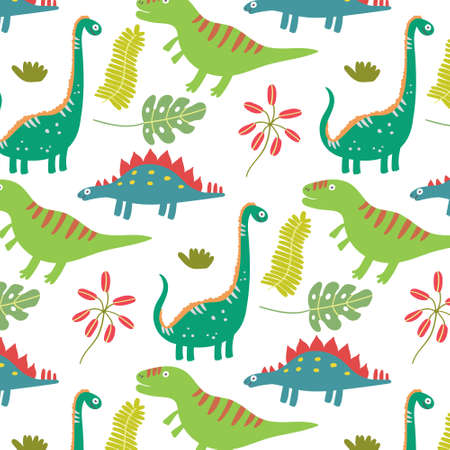 Colorful tropical leaves dinosaurs seamless pattern