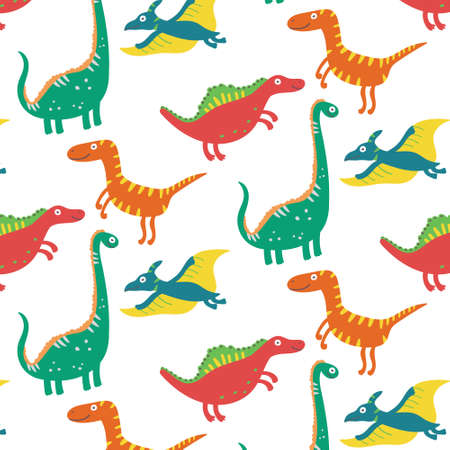 Dinosaurs seamless pattern. Vector pattern Ilustração