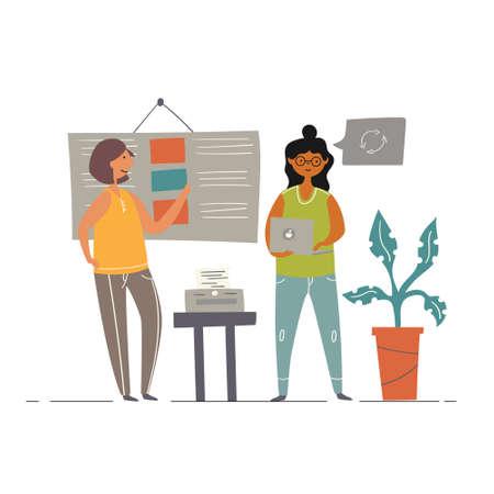 Office teamwork. Female freelancers writers brainstorm
