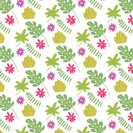 Summer seamless tropical leaf. Vector pattern