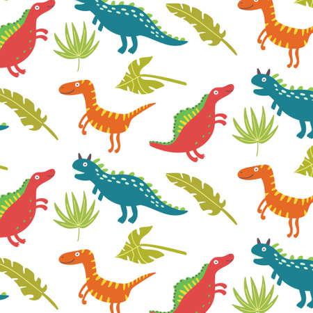 Tropical leaf dinosaurs seamless pattern Ilustração
