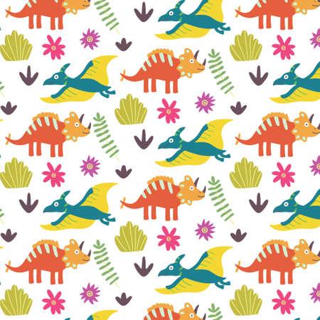 Summer tropical leaf dinosaurs seamless pattern Ilustração