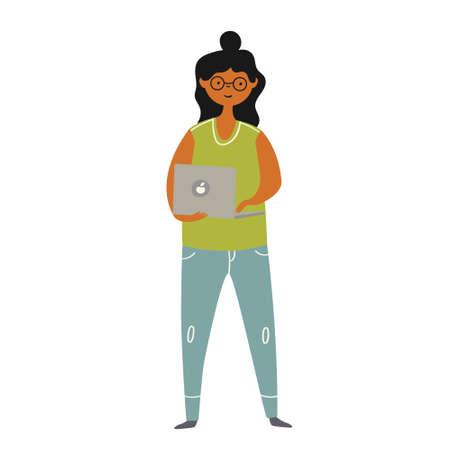 Girl stands with a laptop in her hands Ilustração