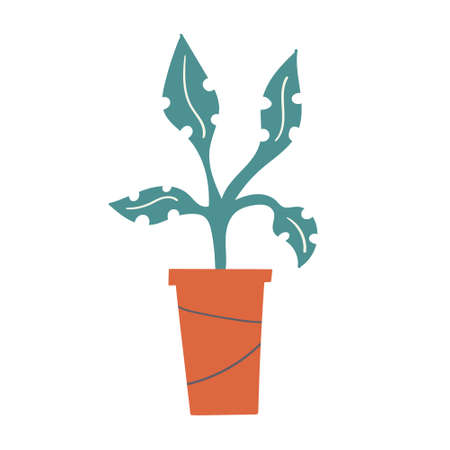 Potted plant handdrawn vector illustration