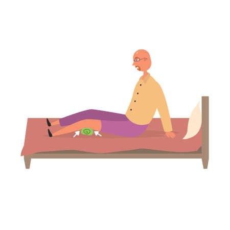 A man does a leg workout with a towel on the bed. Sports exercise vector illustration