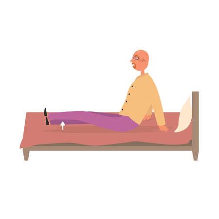 A man does leg workout on the bed. Sports exercise vector illustration Ilustração