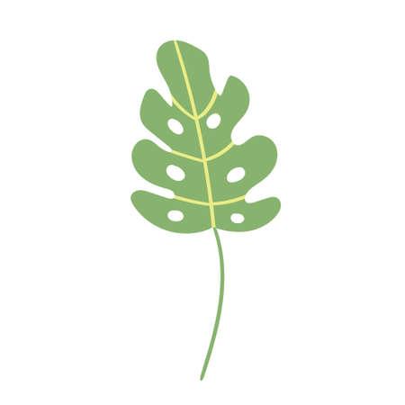 Child's drawing green tropical leaf hand-drawn. Vector illustration Ilustração
