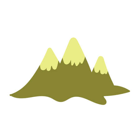 Children's drawing of the mountains handdrawn. Vector illustration