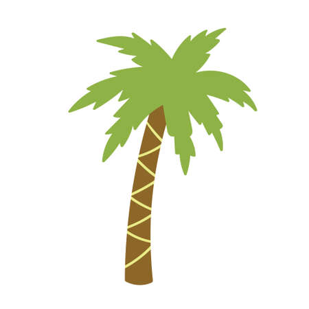 Children's drawing of a palm tree handdrawn. Vector illustration
