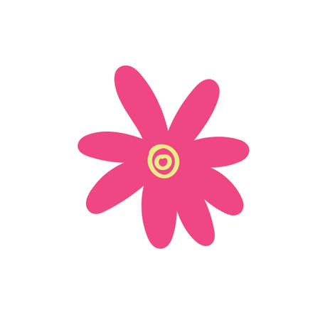 Child's drawing of a pink flower hand-drawn. Vector illustration