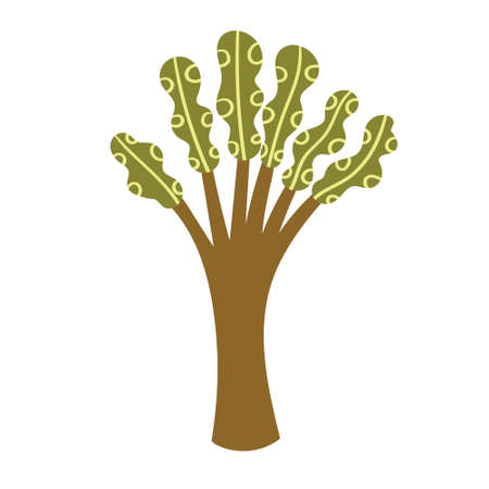 Children's drawing of a tropical exotic tree. Vector illustration