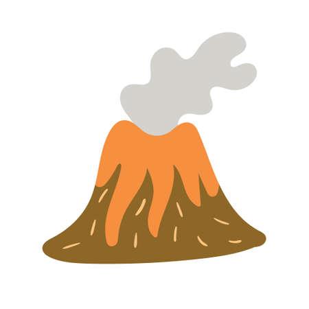 Children's drawing of the volcano hand-drawn. Vector illustration Ilustração