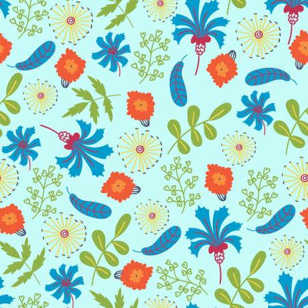 Summer pattern flowers cornflowers and leaves. Flower ornament
