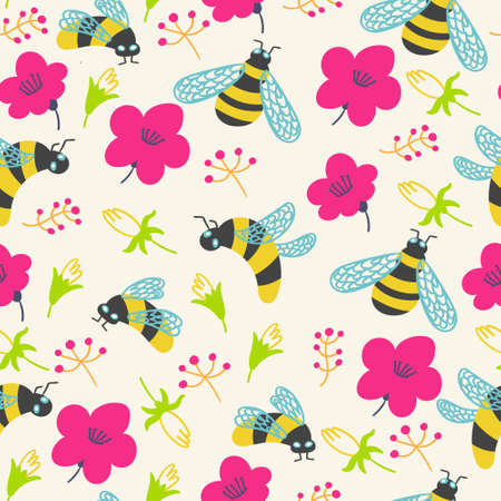 Summer pattern flowers and bumblebee