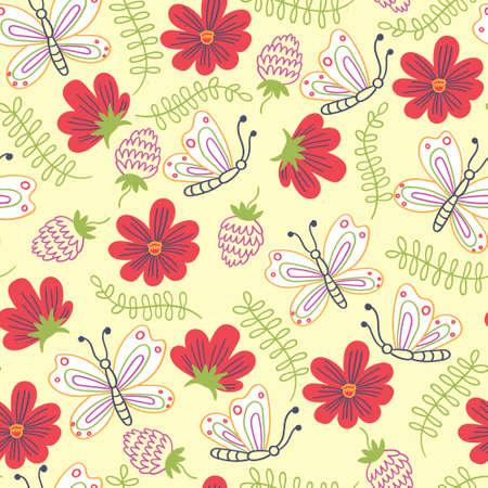 Summer pattern flowers and butterflies