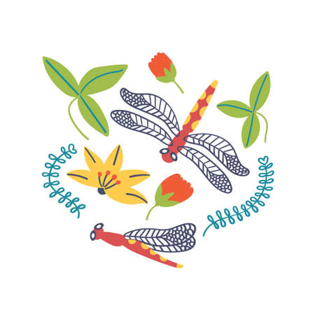 Print for t-shirt dragonfly lilies flowers and leaves