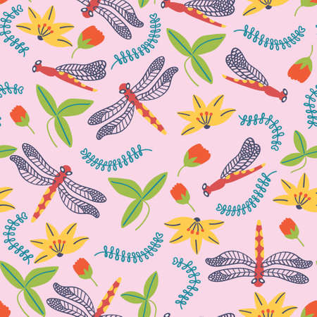 Summer pattern flowers and dragonfly