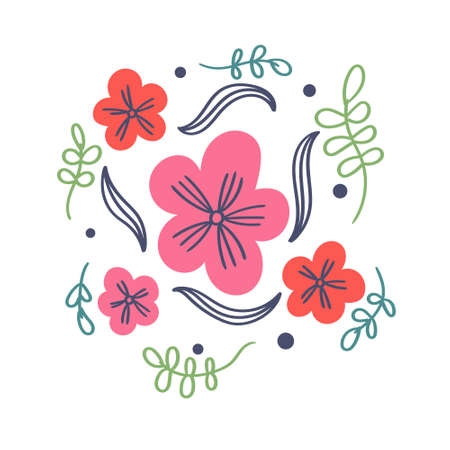 T-shirt print flowers and leaves
