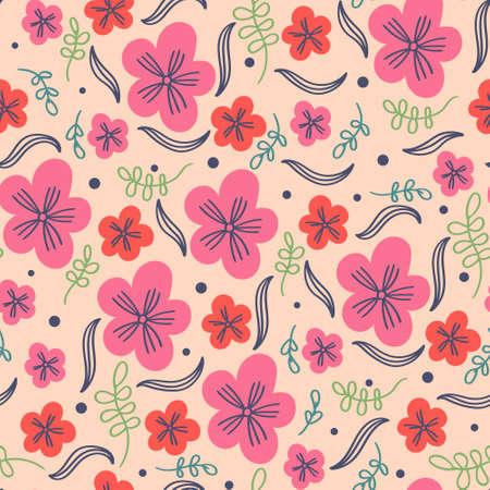 Summer pattern flowers and leaves. Flower ornament Ilustração