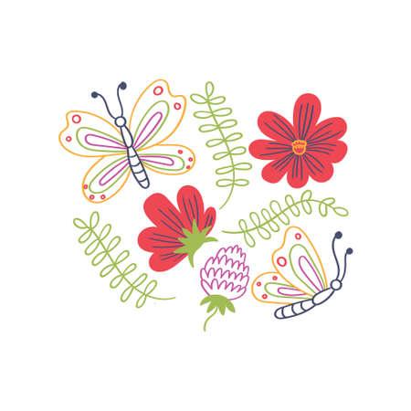 Print for t-shirt butterflies flowers leaves Ilustração