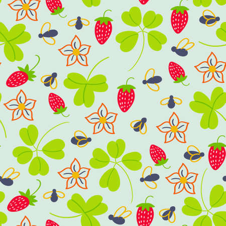 Summer pattern of strawberries and midges