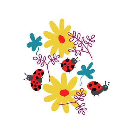 T-shirt print ladybugs and flowers Ilustração