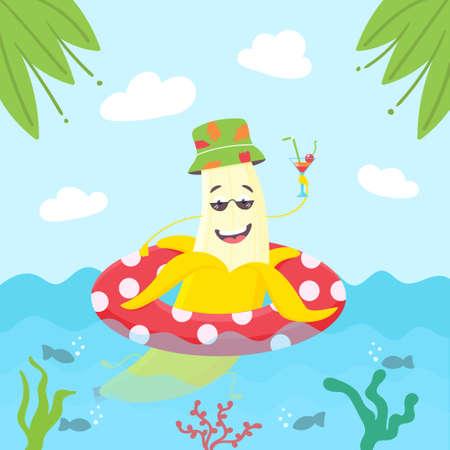 Summer banana character swims in an inflatable circle.