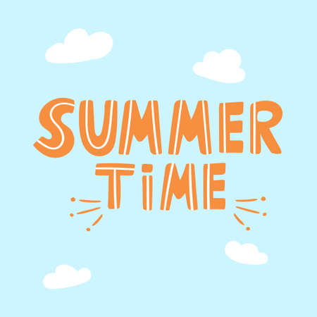 Funny lettering summer time. Vector baby calligraphy