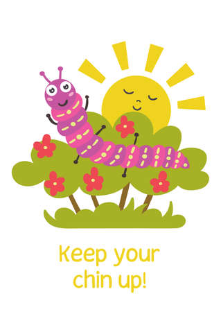 Funny caterpillar sits on a bush. Positive children greeting card. Vector illustration Illustration