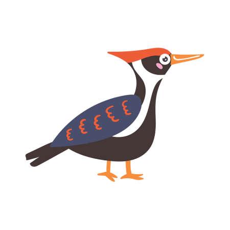 Cartoon vector bird black woodpecker