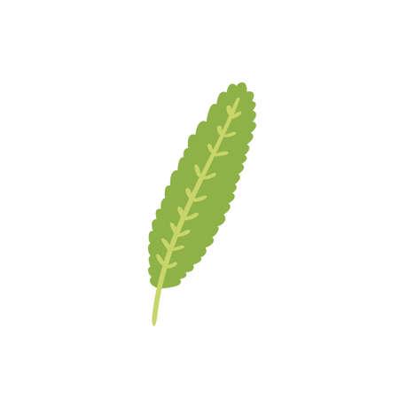 Cartoon vector decorative green leaf