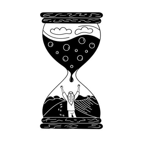 The man in the hourglass. Sand dunes lack of water in the desert. The man asks for water. Black and white vector graphics Ilustrace