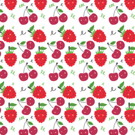 Cherry and raspberry pattern. Fruit seamless red pink vector background