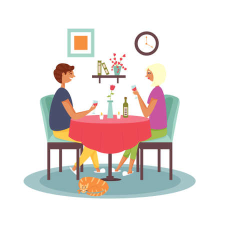 Couple sitting at the table drinking wine. Romantic dinner at home. Vector flat illustration Çizim