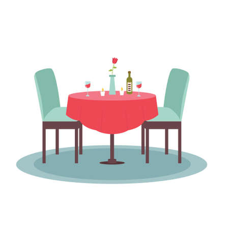 Home furnishings Table with chairs. Romantic dinner at home. Vector flat illustration