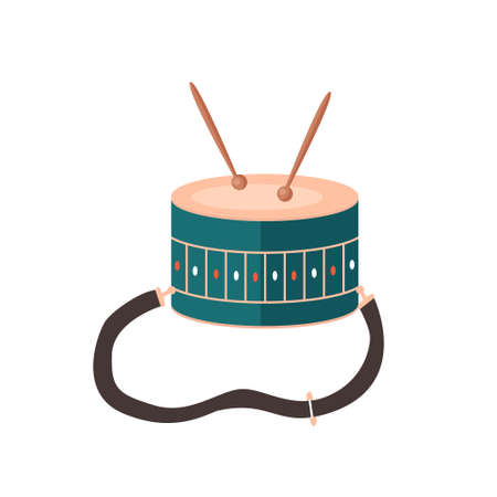 Musical children instrument drum and Drumsticks. Vector isolated object
