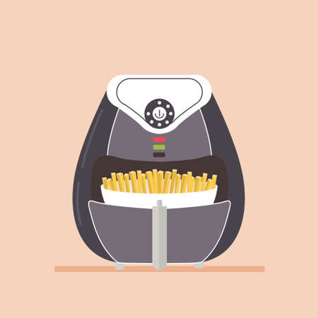 Air fryer equipment for fast food preparation. Home appliances for making fast food. Cooking French fries without oil. Modern vector flat isolated illustration