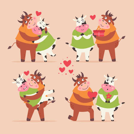 Set of loving bulls and cows. Funny farm animals characters for valentine's day. Paired ungulates hug, propose marriage, give gifts, carry in their arms. Modern vector flat illustration