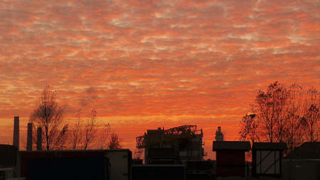 red sky: Industrial zone under red sky