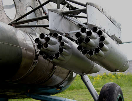 helicopter: Rocket launchers on helicopter wing