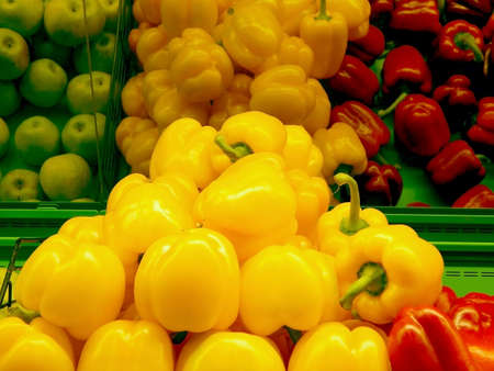 health food store: Bell pepper and paprika on the shelf at vegetables market